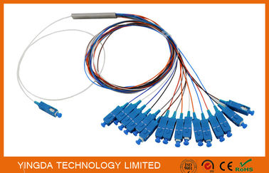Chiny  0.9mm Steel Tube Fiber Optic PLC Splitter 1X16 G657A1 1.5m 0.9mm With SC UPC Connector fabryka