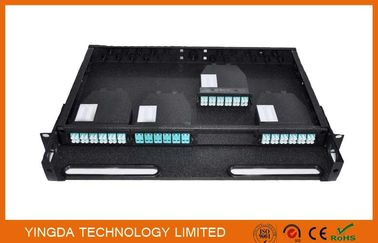 Chiny 96 Cores 1U MPO Patch Panel / Enclosures 4 bays wide 24 LC ports3 MPO APC (x8) input SMF fabryka
