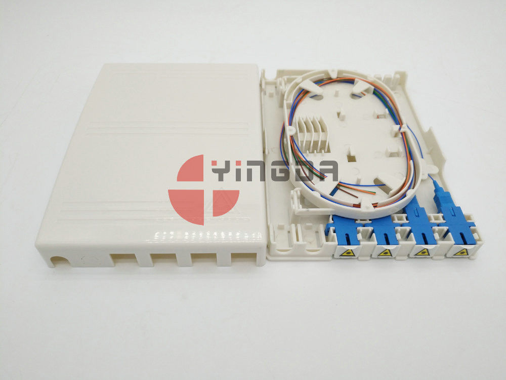 Uncut 4 Fibres Mini optical Splice Box, ABS White Fibre Terminal Box do 1 * 4 Steel Tube Splitter dostawca