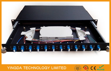 Chiny 1U 19 Inch Sliding Rack Mount Fiber Optic Patch Panel 12 Port LC Duplex dystrybutor